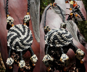 Quagga Medallion Stone/Macrame Necklace by BellyLaughBeads
