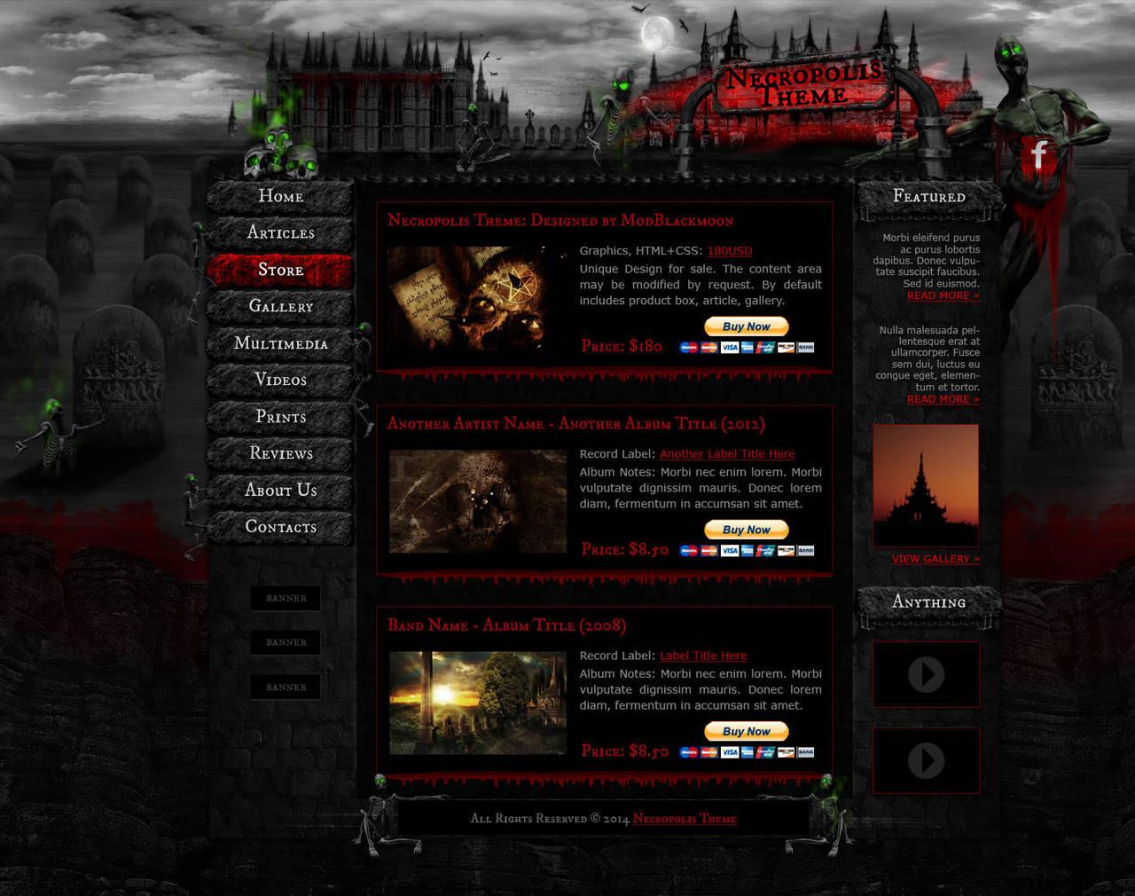 Necropolis Web-Template Preview by modblackmoon
