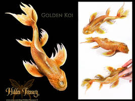 Golden Koi Sculpture by HiddenTreasury