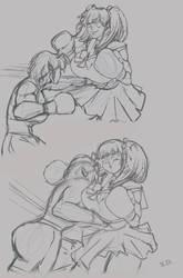 Ryona vs Myoko: Rough Sketch by Shamlessdreams