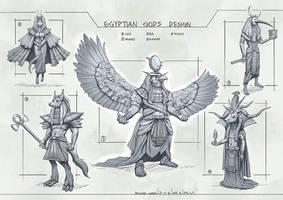 Egyptian Gods by rowenawangart