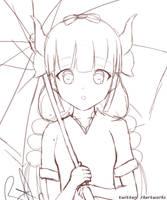 kanna kamui rain (sketch) by rkartworks