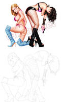 Girls commission by jocachi