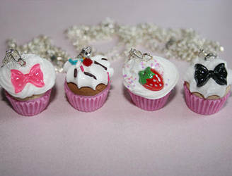 Cupcake Necklaces by geurge