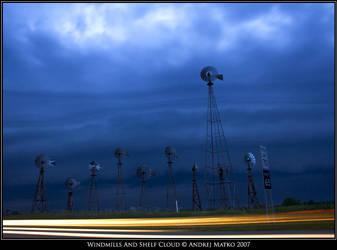 Windmills And Shelf Cloud by SchaF