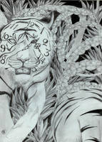 peeled clock tiger by Mechanictress
