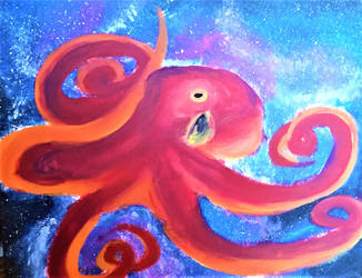 octopus in space by preposterous-panda