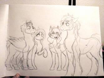 Temp Sketch- Meeting the Boyfriends by elusiveCONQUEROR