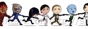 The Mass Effect 1 and 2 gang by Cargoleta