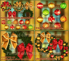 Painted PNG Christmas Decorations by KlaraKay