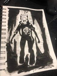 Projectionist Monster - BATIM Ink Experiment  by ZoraShah
