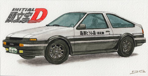 Toyota AE86 Trueno Initial D Watercolour by DirtyGeneral