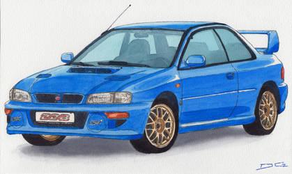 Subaru Impreza 22B Watercolour by DirtyGeneral