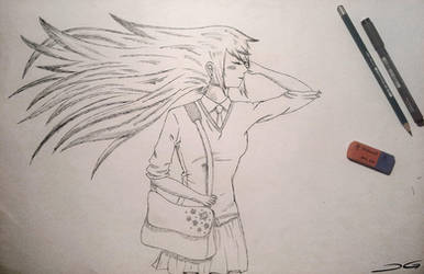 School Girl Drawing by DirtyGeneral