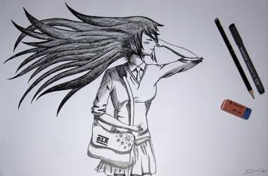 School Girl Drawing v2 by DirtyGeneral