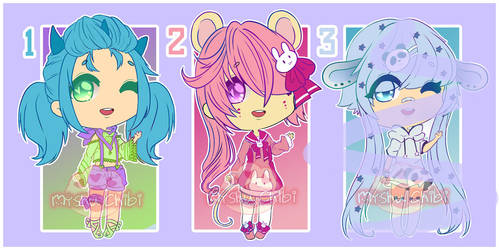 Adoptables OPEN 2/3  [POINT OR PAYPAL] by Myshumeaw