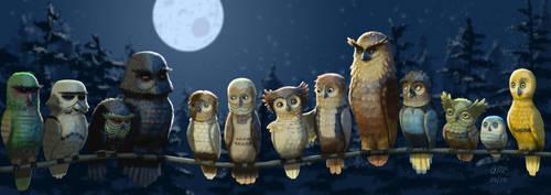 Star Owls by AndrewMcIntoshArt