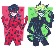 Miraculous Ladybug and Chat Noir by ZoeStanleyArts