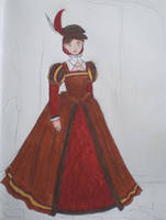 Red + Brown Court Gown Design by LadyJamie