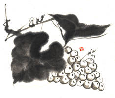 Sumi-e: Grape by muttiy