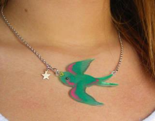 green bird by LittleMissChatterbox