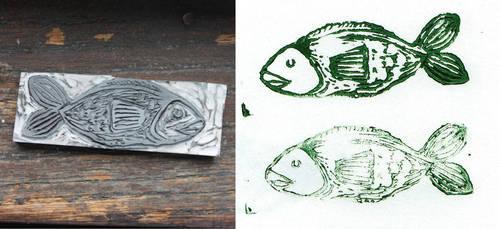 Fish Stamp by rosanevarez