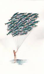 Girl With Sardine Balloons by rosanevarez