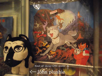 John plushie and kind-of-derpy GNG poster by methpring