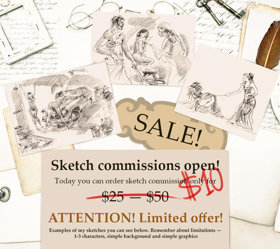 Sketch commissions for $10! by kindinov