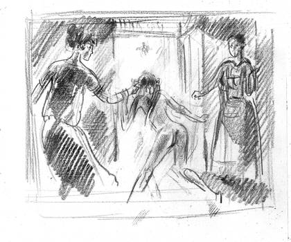 To the punishment room  _  sketch by kindinov