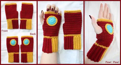 Crochet Iron Man Fingerless Gloves by sapphiresphinx