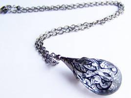 Black Lace Lucite Necklace by ms-pen