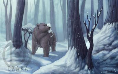 Ours et Chat dans la neige by o0dzaka0o
