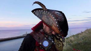 Customized leather tricorn pirate hat by Skinz-N-Hydez