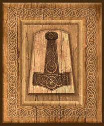 Thors Hammer wood plaque by Vegvisir