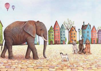 Elephant and Pug by IreneShpak