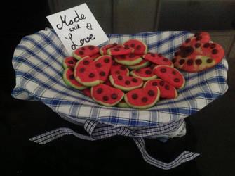 Watermelon cookies by xXxBheithirxXx