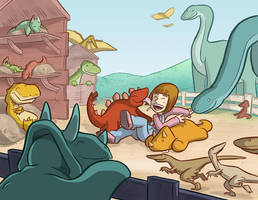 Dinosaur Petting Zoo Commission by samandfuzzy