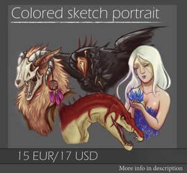 Colored sketch portrait - OPEN by CPT-Elizaye