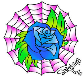 Rose and web by saerling