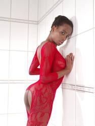 flirting in her red bodysuit by MarcBergmann