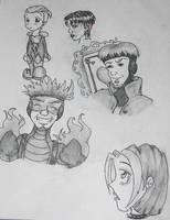 X-men Evolution Sketches by TickledGreen