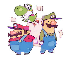 Mario and Luigi and Yoshi by michaelfirman