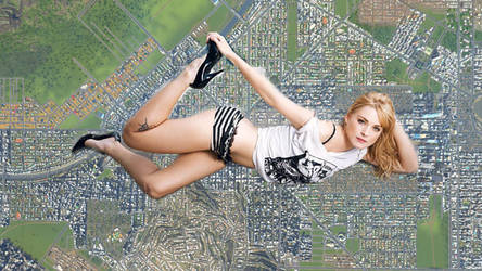 Giantess Alexandra Breckinridge on top of city. by darkshadow278