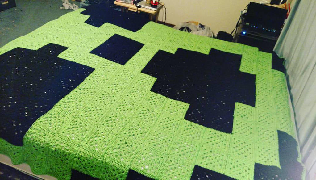 8 Bit Nuclear Symbol Granny Square Crochet Blanket By