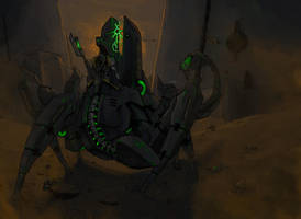 Necron Lord Stalker (color) by MyDeads