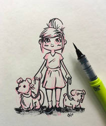 Gurl with doggo's by Appeltjesgroen