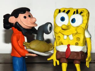 Spongebob Juanele Art trade by Erasmono