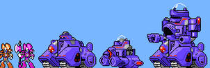 Megaman and Bass: King and his mech in 8-bit style by ASoulOfVirgoBoy