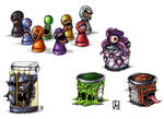 Monsterpawn and paintbottles by melvindevoor